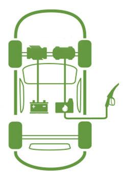 Схема работы гибридного автомобиля (Hybrid)