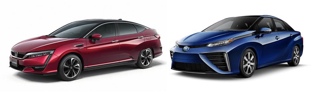 Вид водородных Honda Clarity FCV и Toyota Mirai FCV