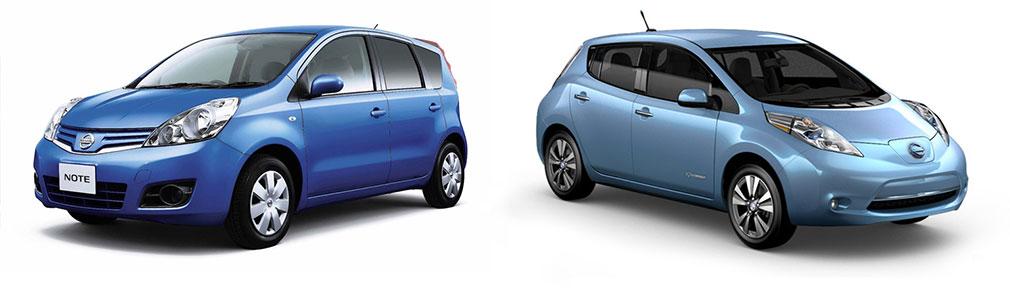 Электрический Nissan Leaf и бензиновый Nissan Note