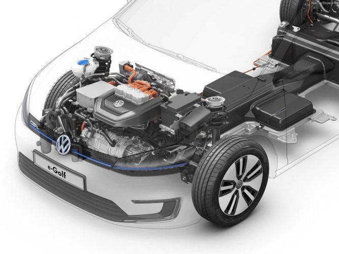 Расположение двигателя и батарей Volkswagen e-Golf