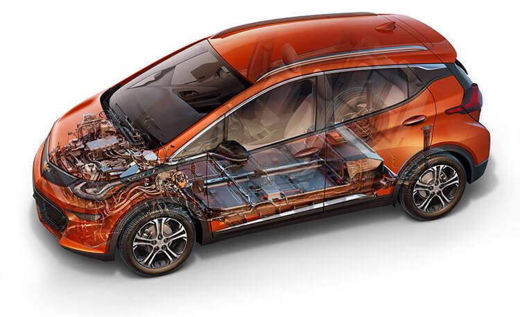Расположение батареи Chevrolet Bolt EV