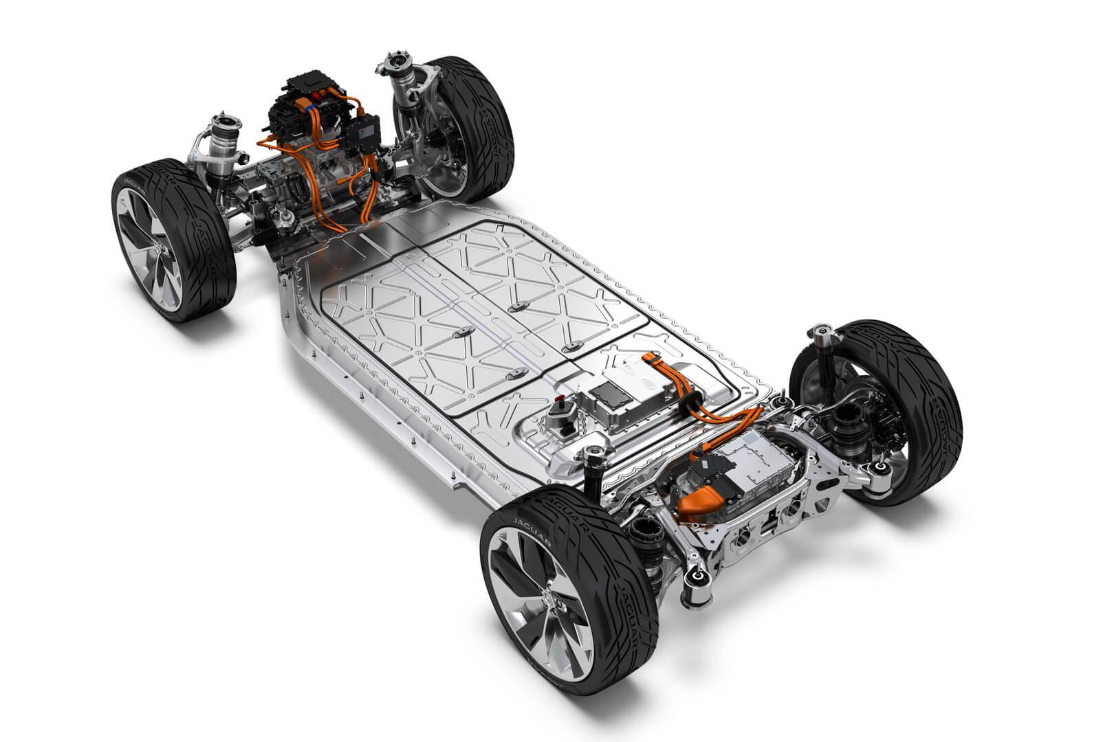 Схема электродвигателей и расположение батарей в Jaguar I-Pace