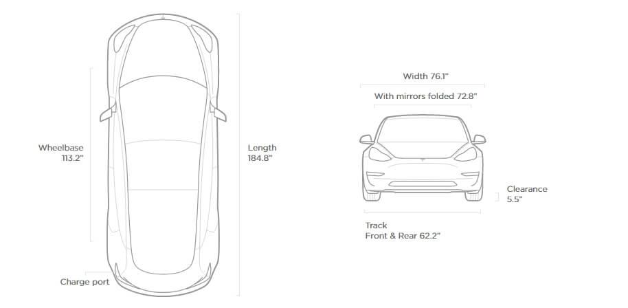 Габаритные размеры Tesla Model 3