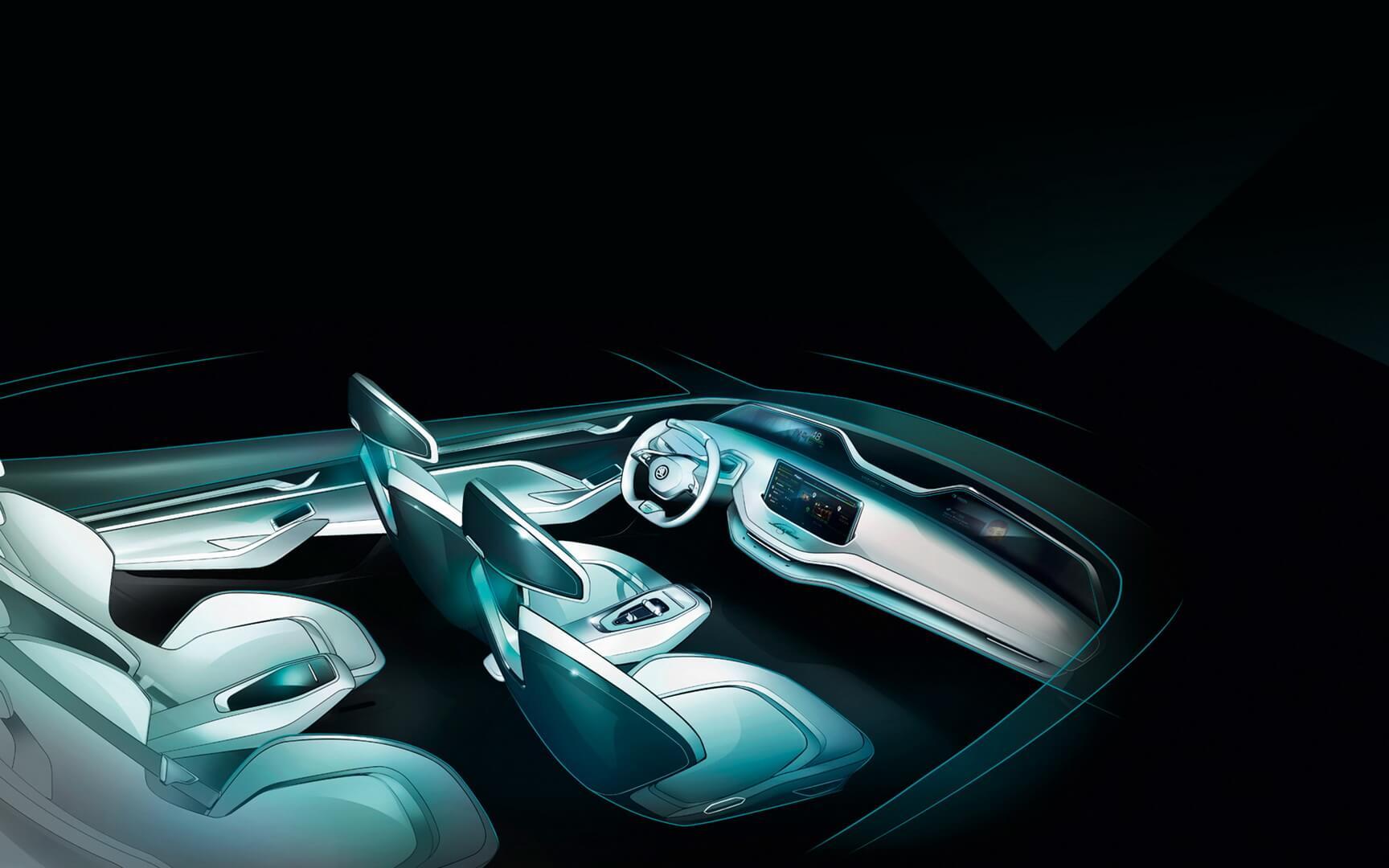 Дизайн салона Skoda Vision E