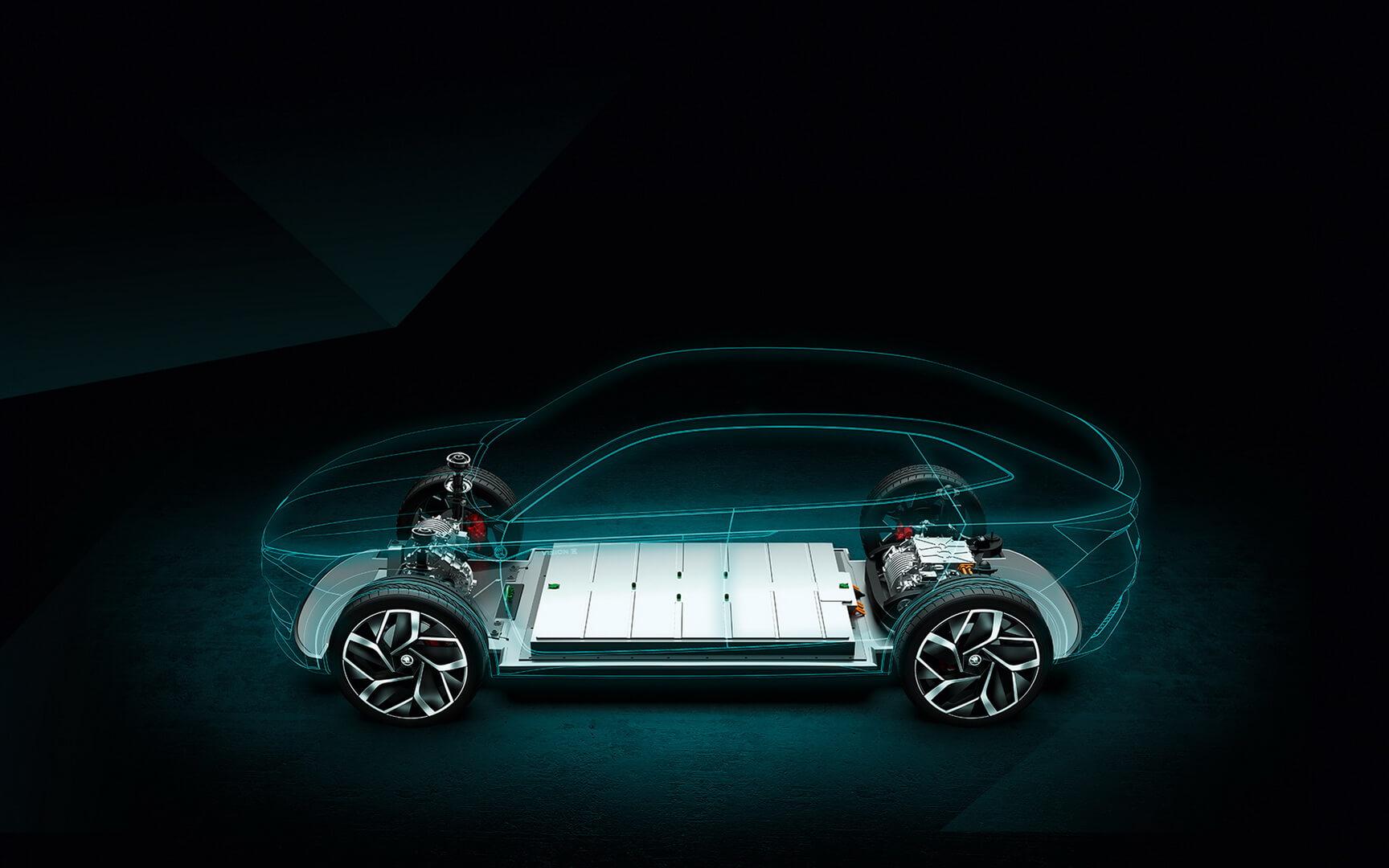 Расположение батареи в Skoda Vision E