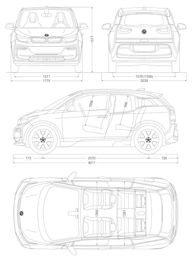Габаритные размеры BMW i3 2018