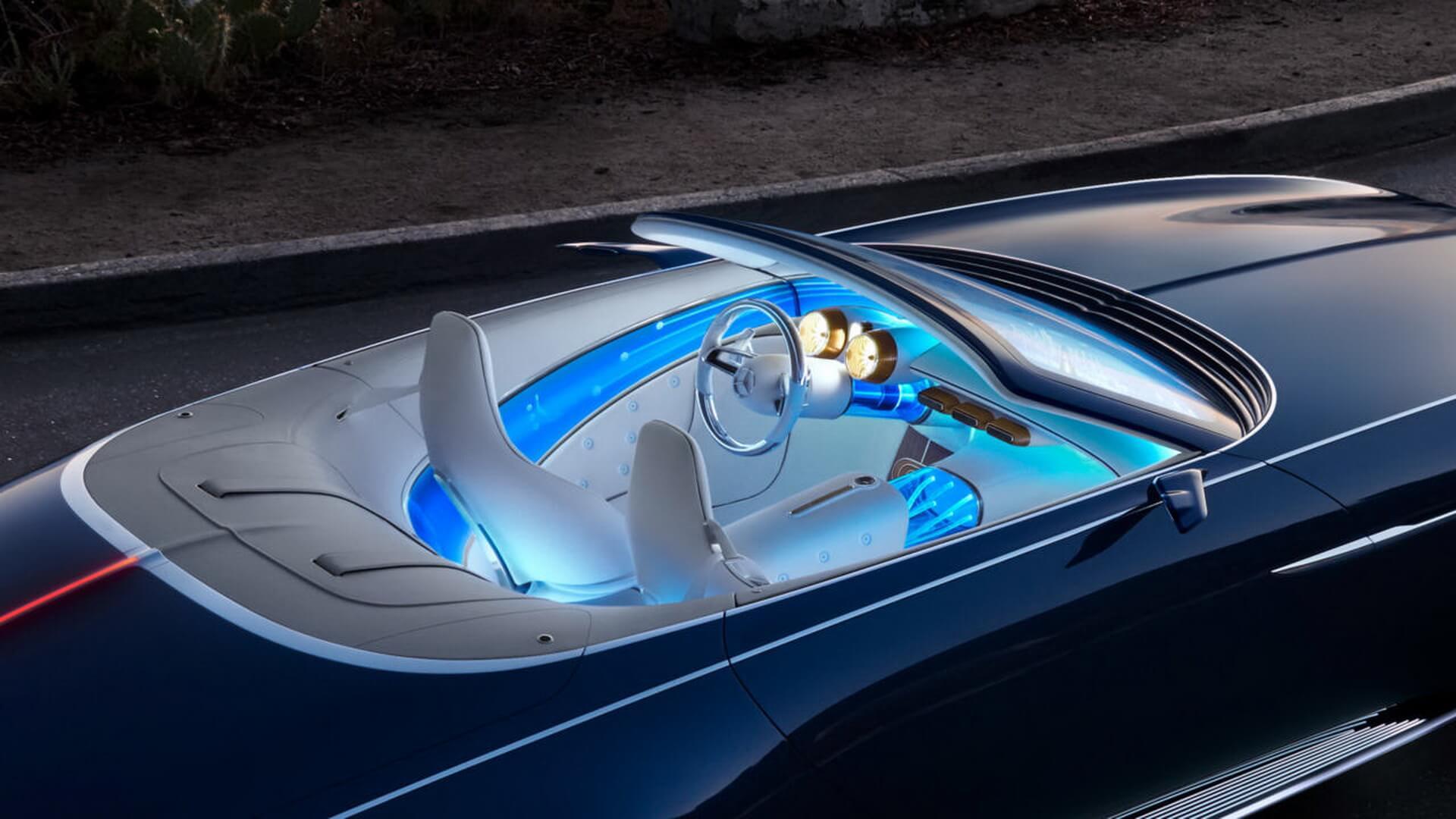 Синяя подсветка салона Vision Mercedes-Maybach 6 Cabriolet