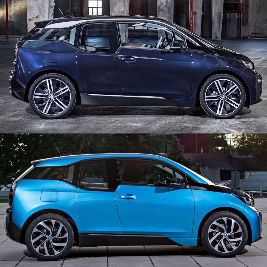 Боковое сравнение BMW i3 2018 и i3 2014