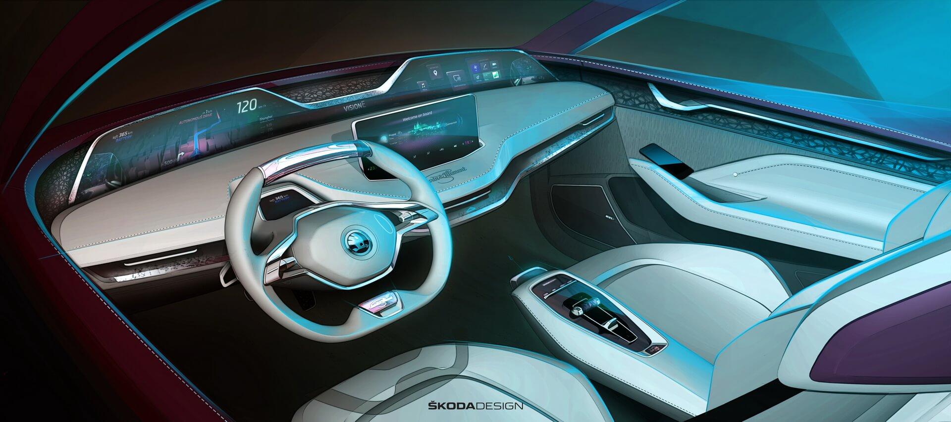 Приборная панель электромобиля Skoda Vision E