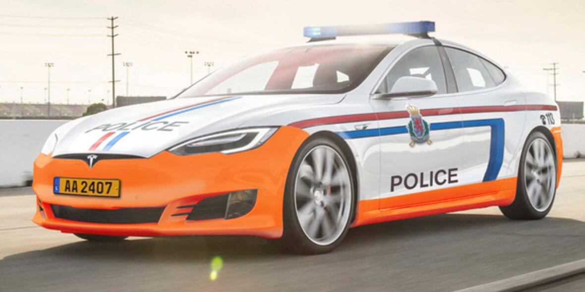 Полицейский Tesla Model S в Люксембурге