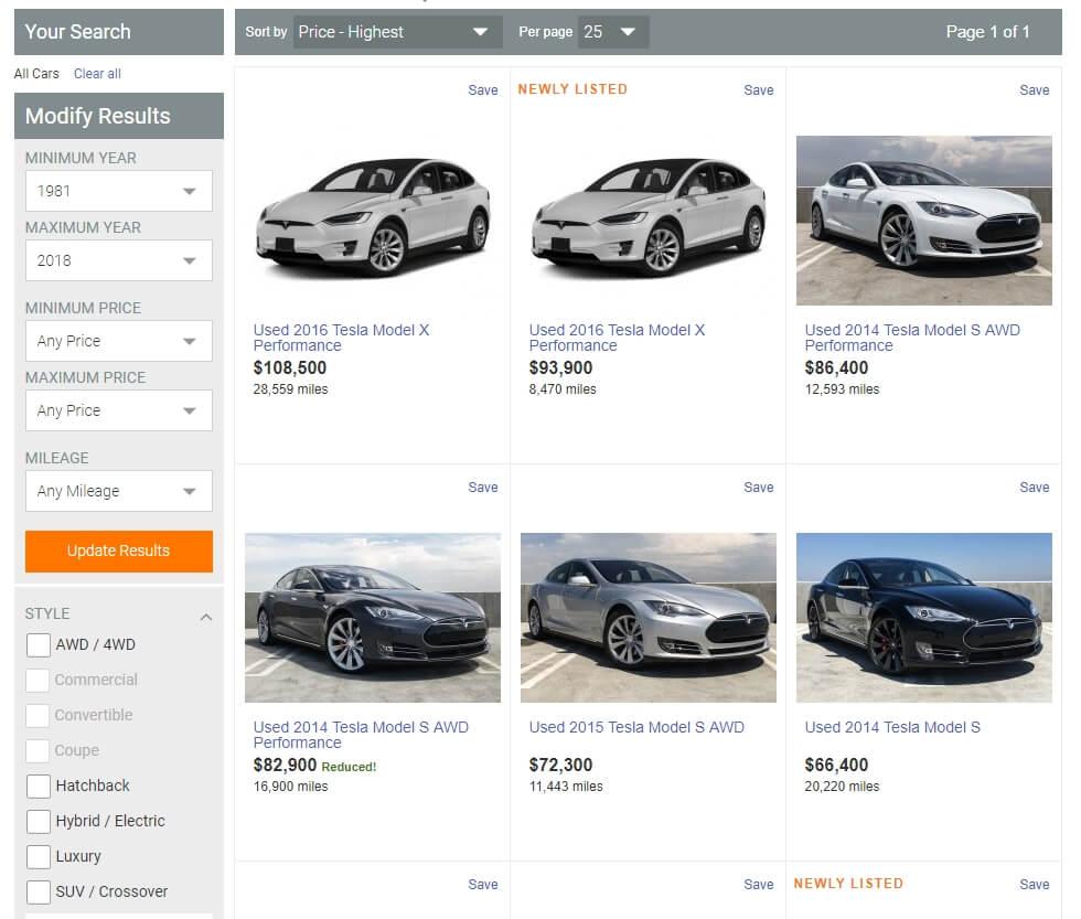 Объявления о продаже подержанных Tesla на сайте autotrader.com