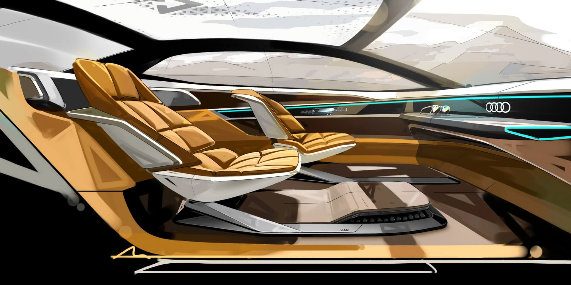 Широкие поверхности и дисплеи салона, контролируемые интеллектуальной системой беспилотника в Audi Aicon