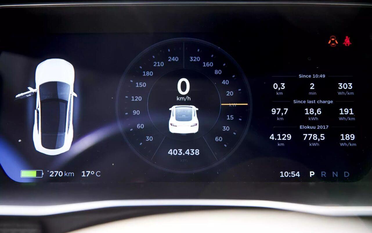 Спидометр Tesla Model S Ари Ньисённена демонстрирует пройденные 403 438 км