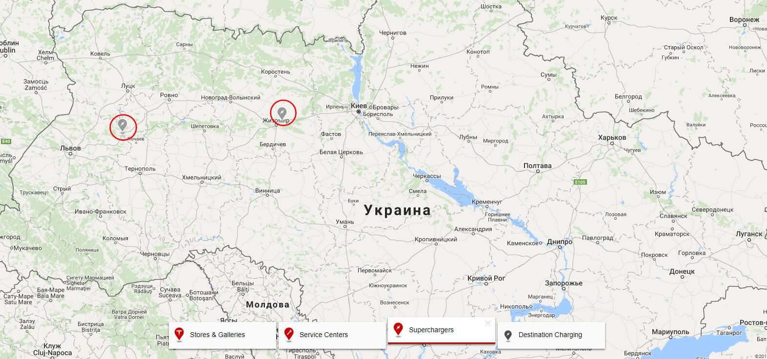 Карта локаций 2 будущих зарядных станций Tesla в Украине