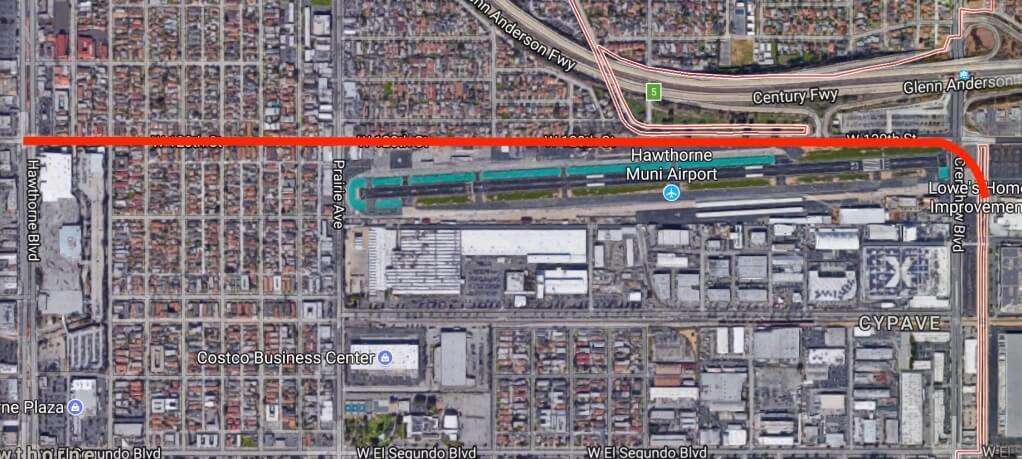 Схема тоннеля отвХоторне под 120-й улицей добульвара вдоль местного аэропорта
