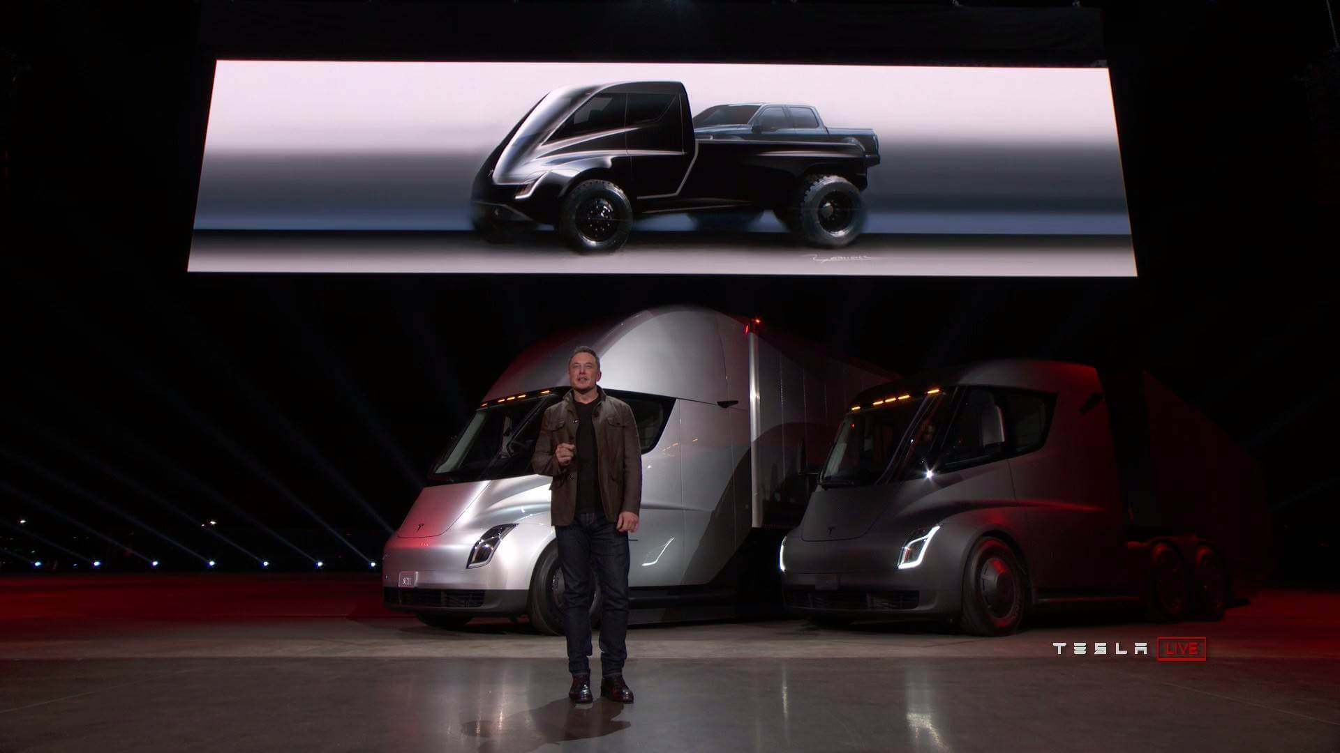 Прототип Tesla Pickup, представленный Илоном Маском во время презентации Tesla Semi