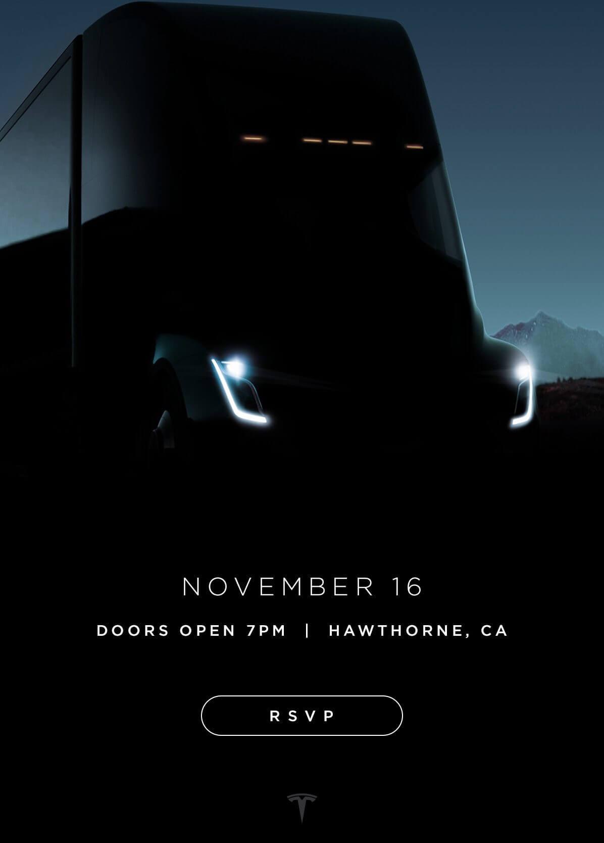Скриншот приглашения Tesla наофициальную презентацию Tesla Semi
