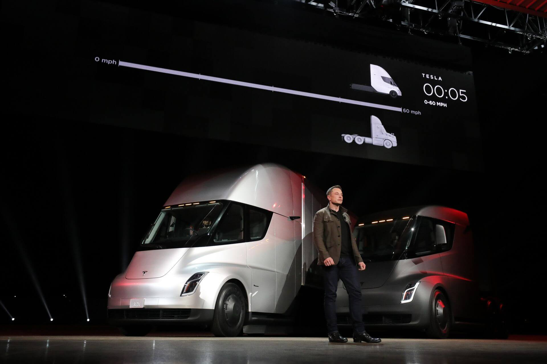 Презентация Tesla Semi вХоторне, Калифорния