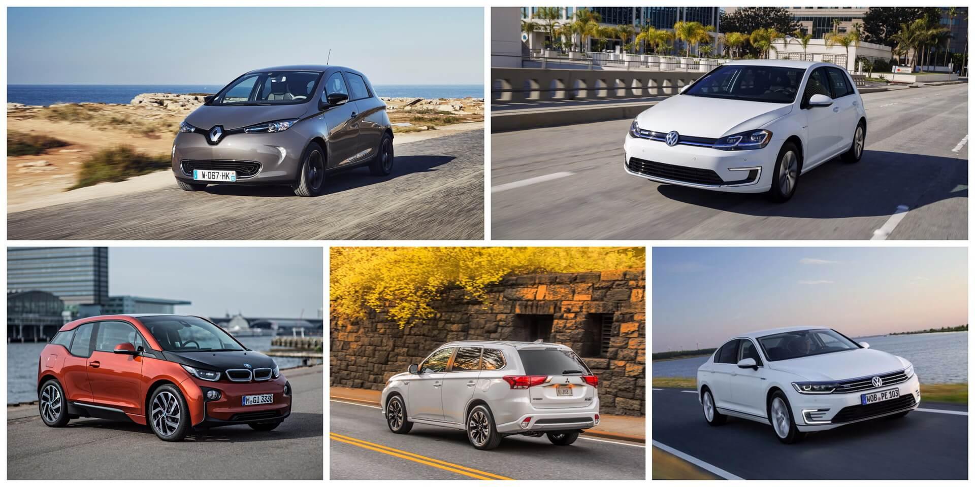 № 1 — Renault Zoe   № 2 — VW e-Golf   № 3 — BMW i3   № 4 — Mitsubishi Outlander PHEV   № 5 — VW Passat GTE
