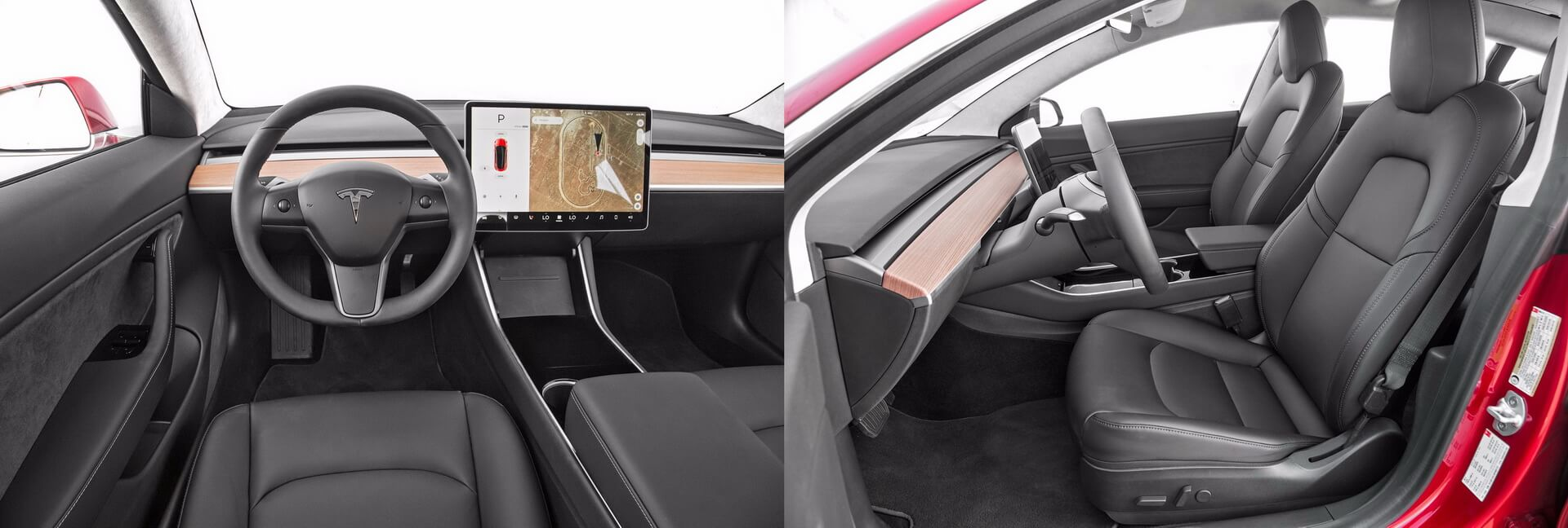 Приборная панель и передние сиденья в Tesla Model 3