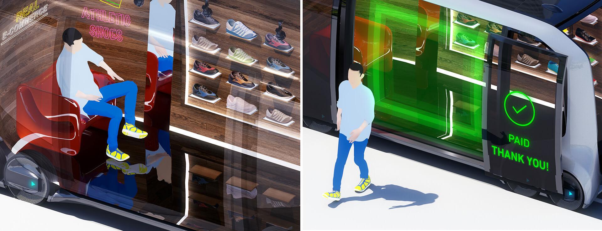 Вариант обувного магазина на модульной платформе e-Palette