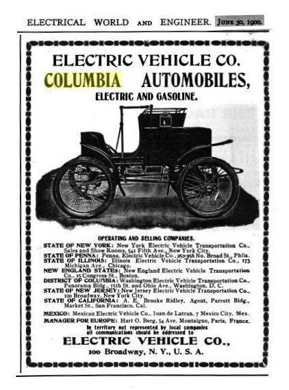 Рекламный проспект производителя электромобилей «Electric Vehicle Company»