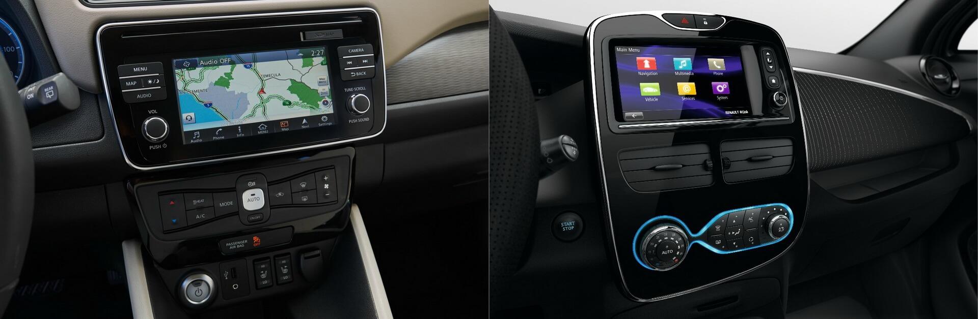 Центральный дисплей именю Nissan Leaf и Renault ZOE