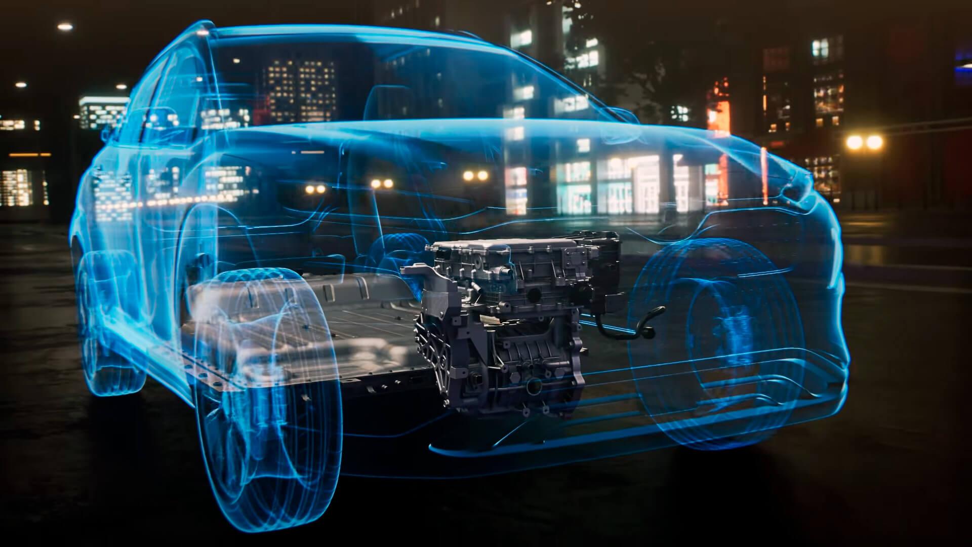 Электродвигатель и батарея в Hyundai Kona Electric