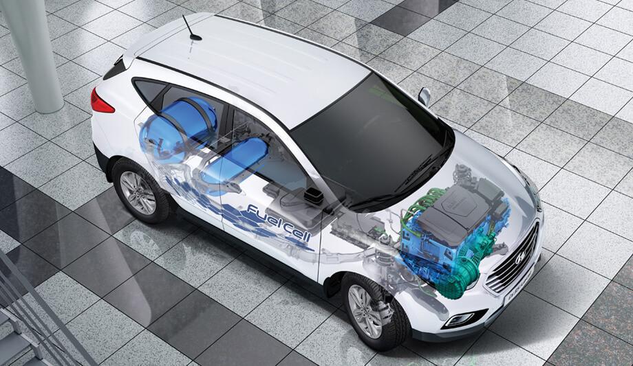 Баллоны с водородом под давлением 700 атмосфер в задней части кузова Hyundai Tucson/ix35 FCEV