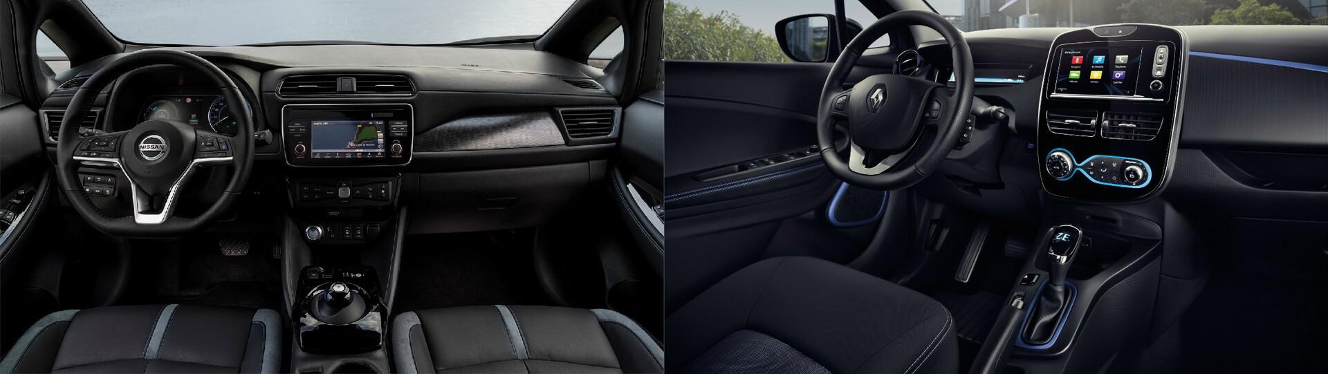 Интерьер Nissan Leaf (слева) и Renault ZOE (справа)