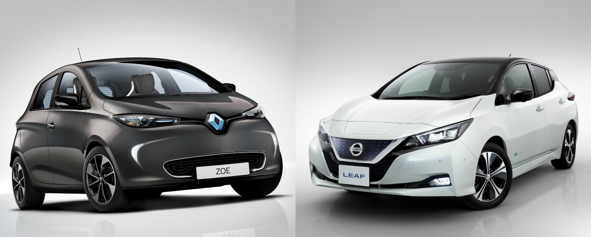 Renault ZOE и Nissan Leaf 2018