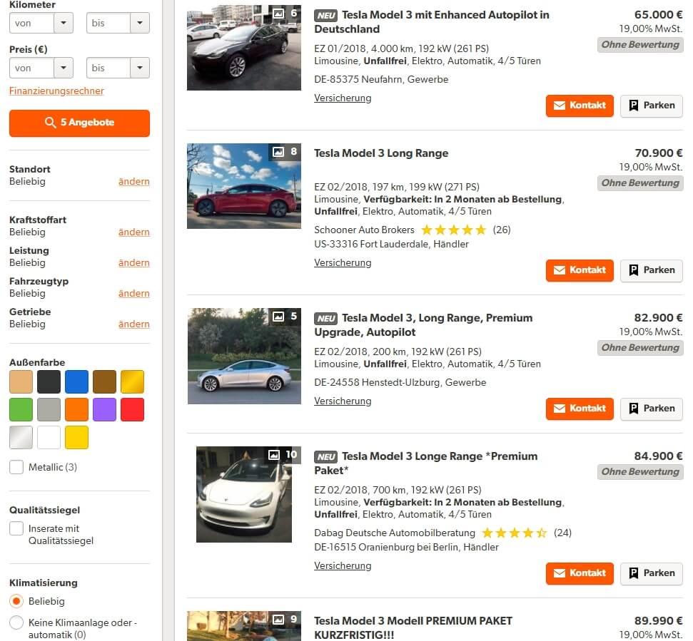 Объявления о продаже Tesla Model 3 на немецком сайте mobile.de