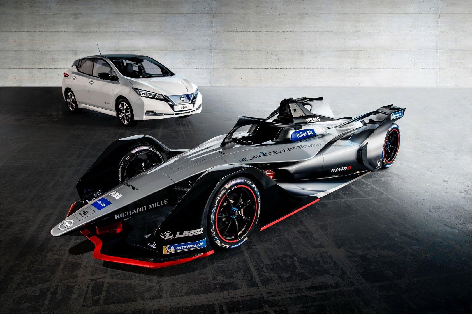 Nissan Leaf и концепт спорткара Nissan для Formula E
