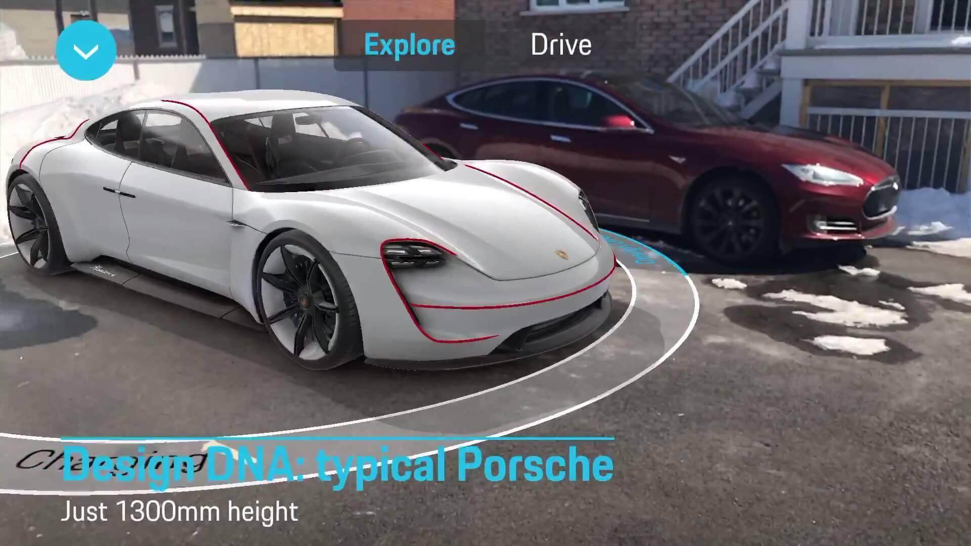 Сравнение Porsche Mission E и Tesla Model S в приложении