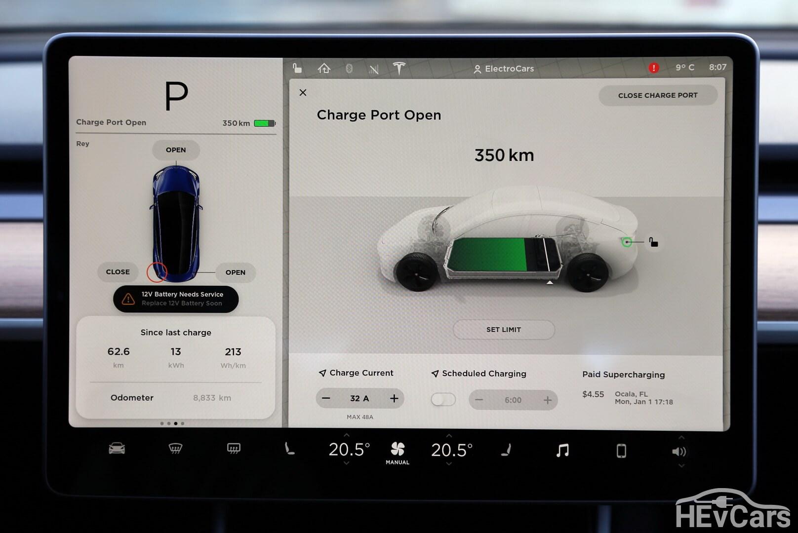 Остаточный пробег на дисплее Tesla Model 3 Long Range