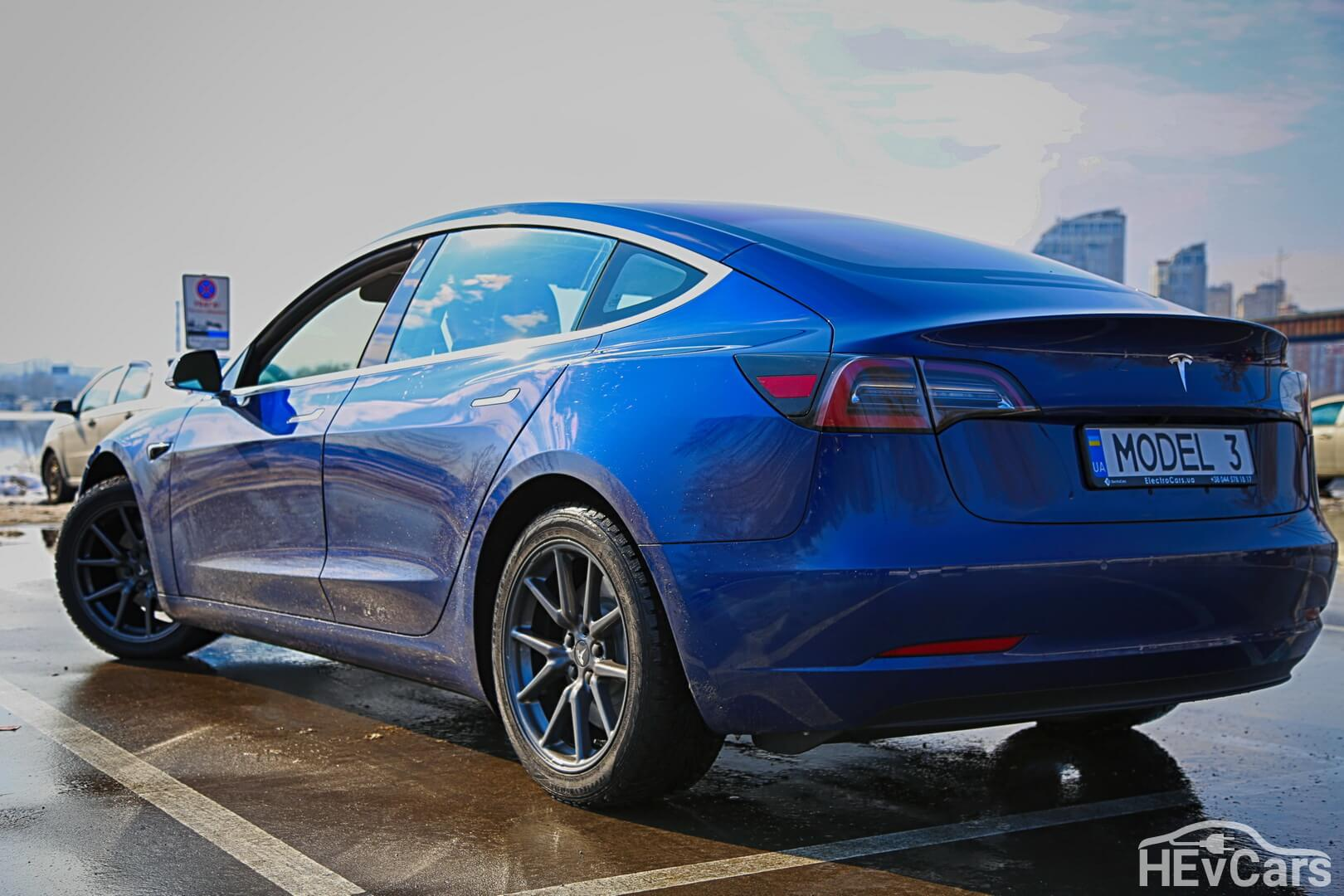 Tesla Model 3 Long Range — вид сбоку — фото 2