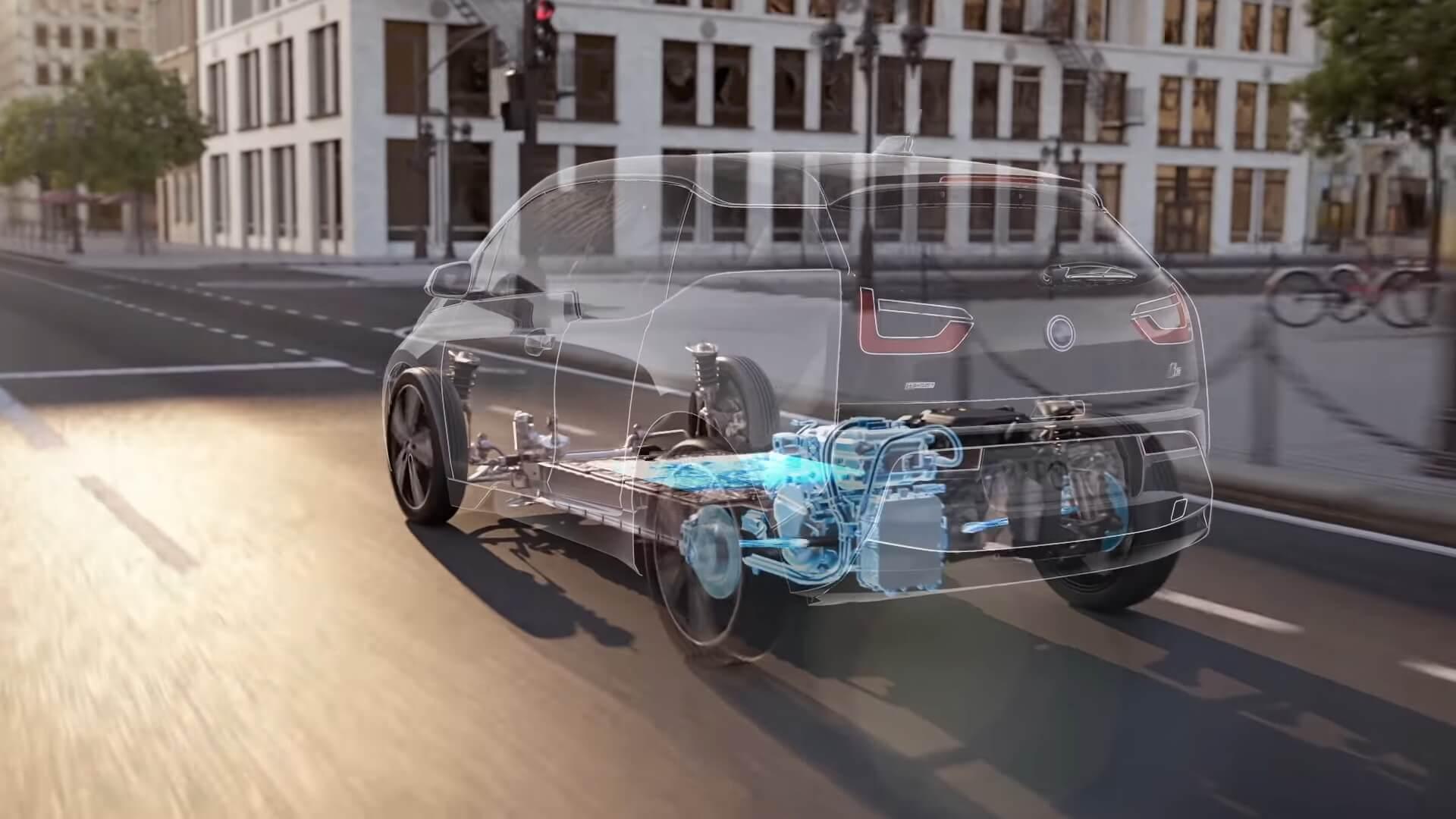 Схема рекуперация энергии в электромобиле BMW i3 при торможении