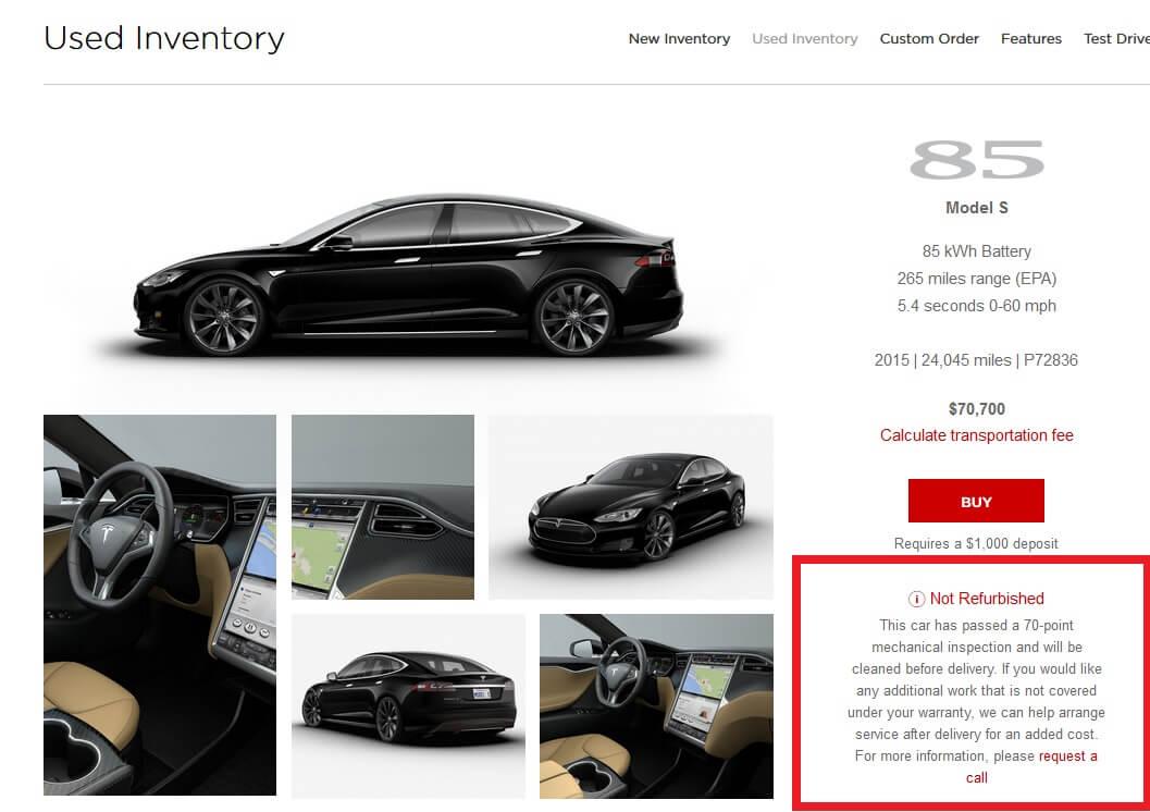 Tesla Model S 85 получившая отказ в«восстановлении» насайте компании
