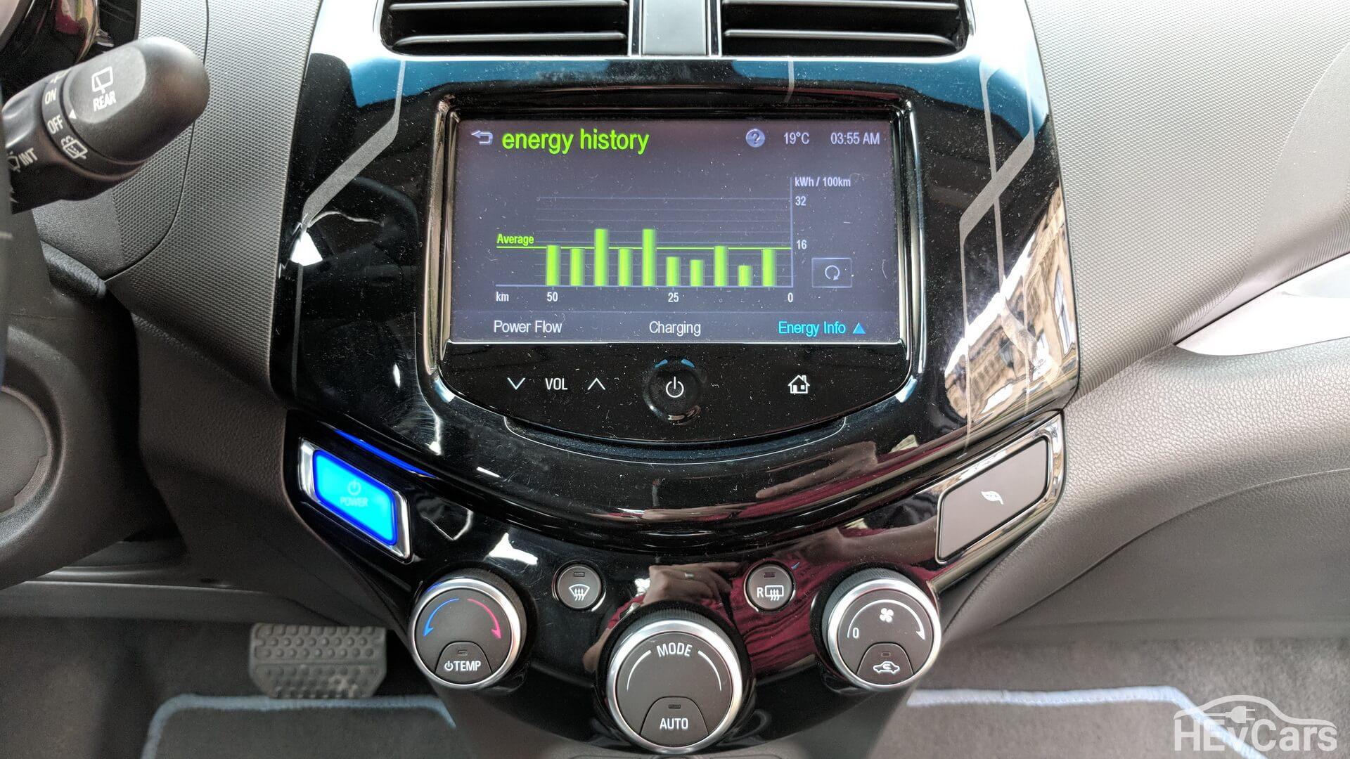 Дисплей на ценральной консоли в Chevrolet Spark EV