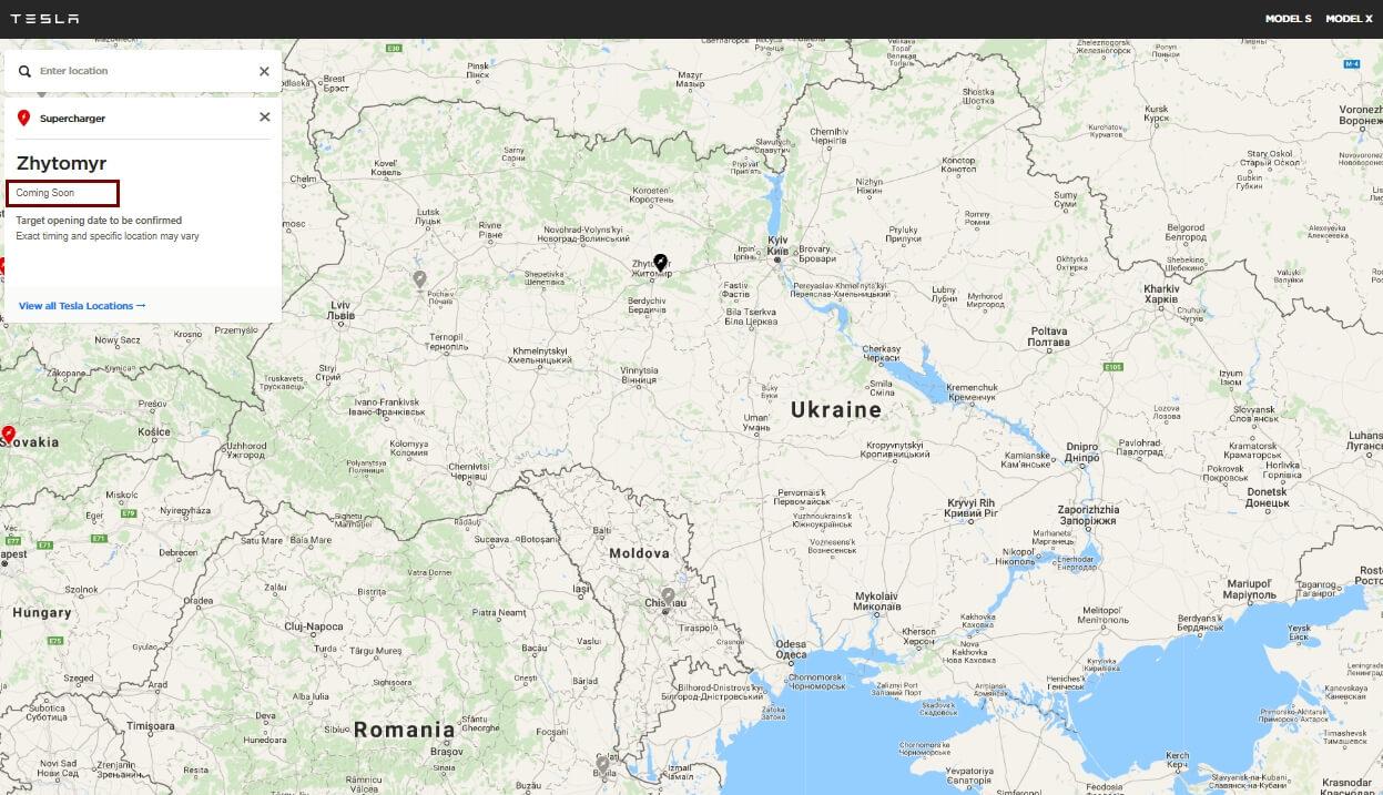 Карта будущих зарядных станций Tesla в Украине