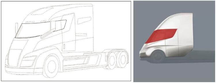 Сравнения ветровых стекол Nikola One и Tesla Semi