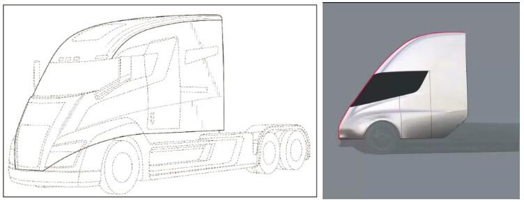 Сравнения фюзеляжа Nikola One и Tesla Semi