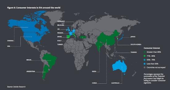 Страны в которых потребители проявляют наибольший интерес к электромобилям