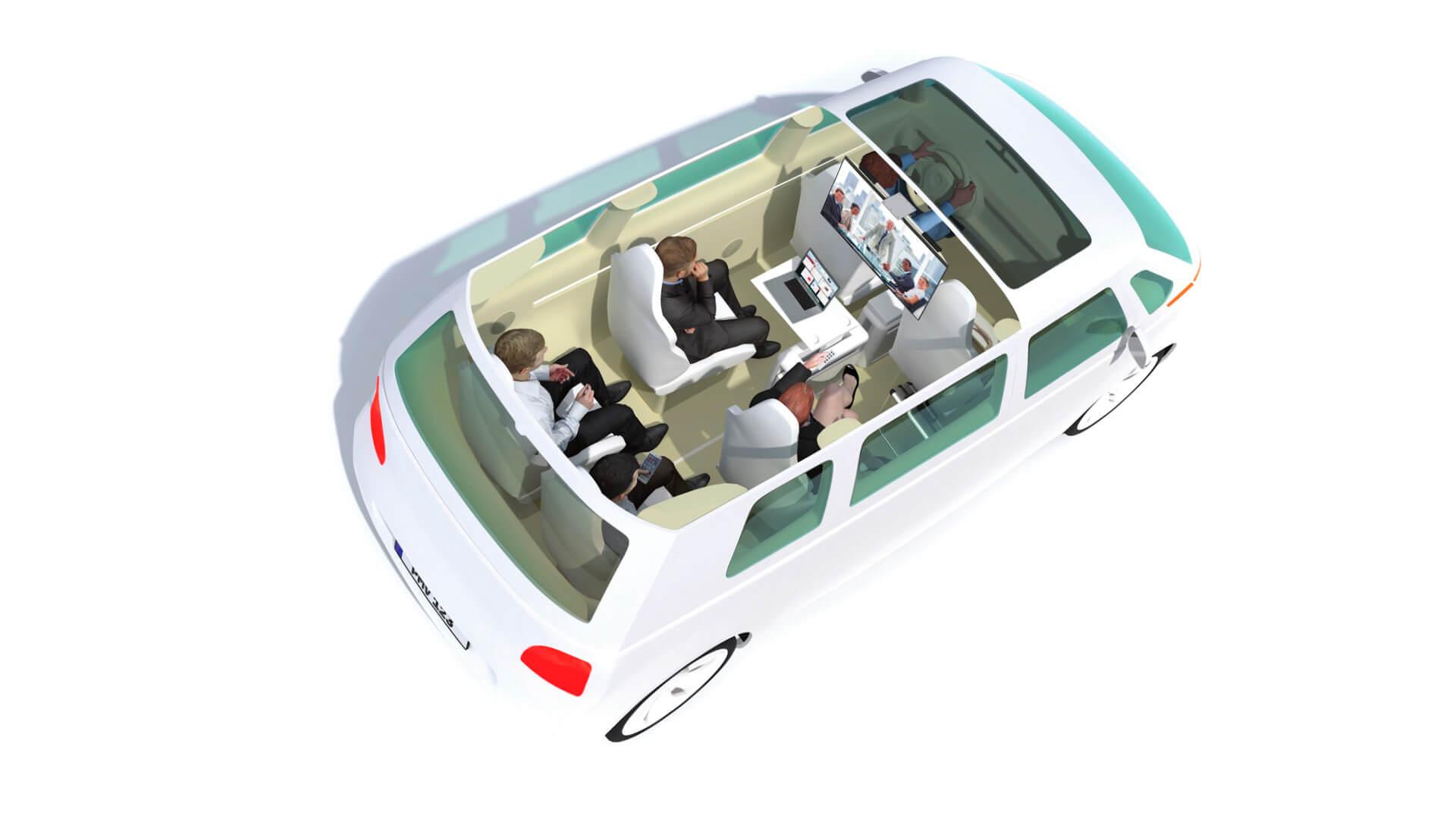 В совместных такси пассажиры могут работать во время поездки
