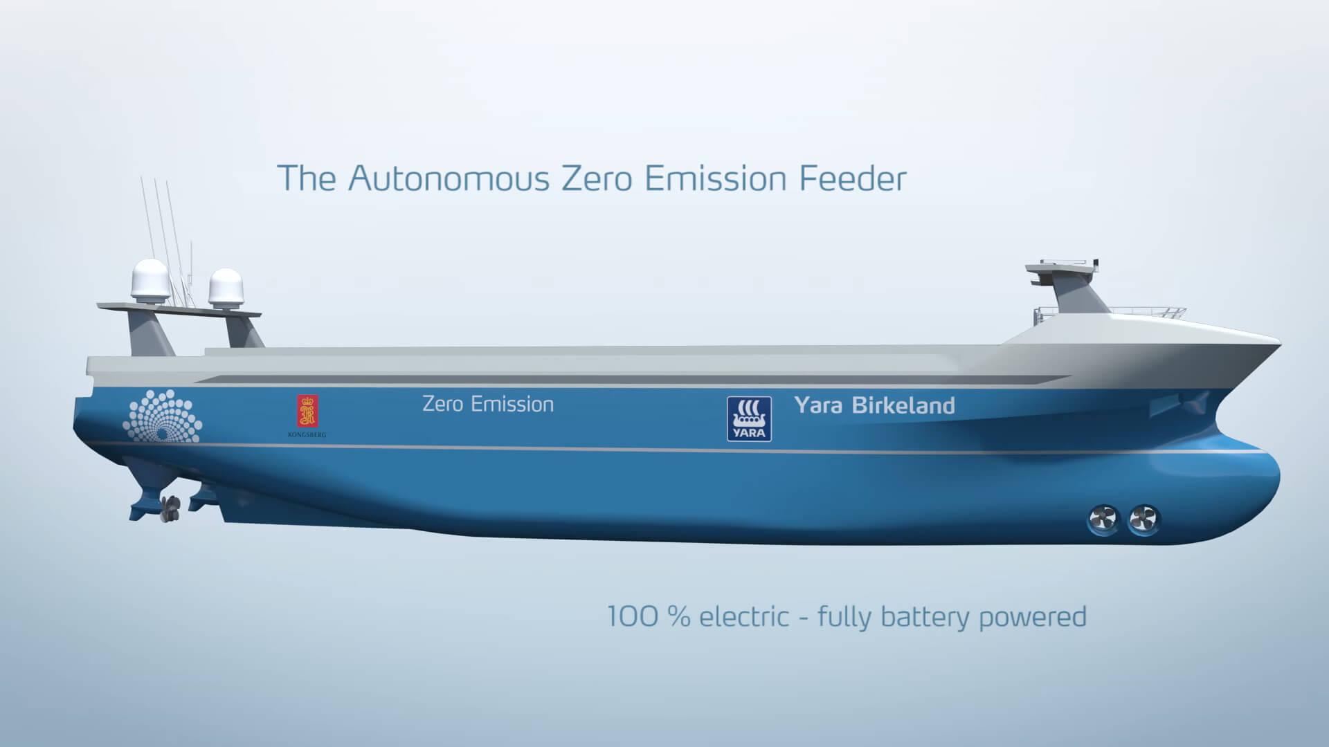Электрический автономный корабль Yara Birkeland