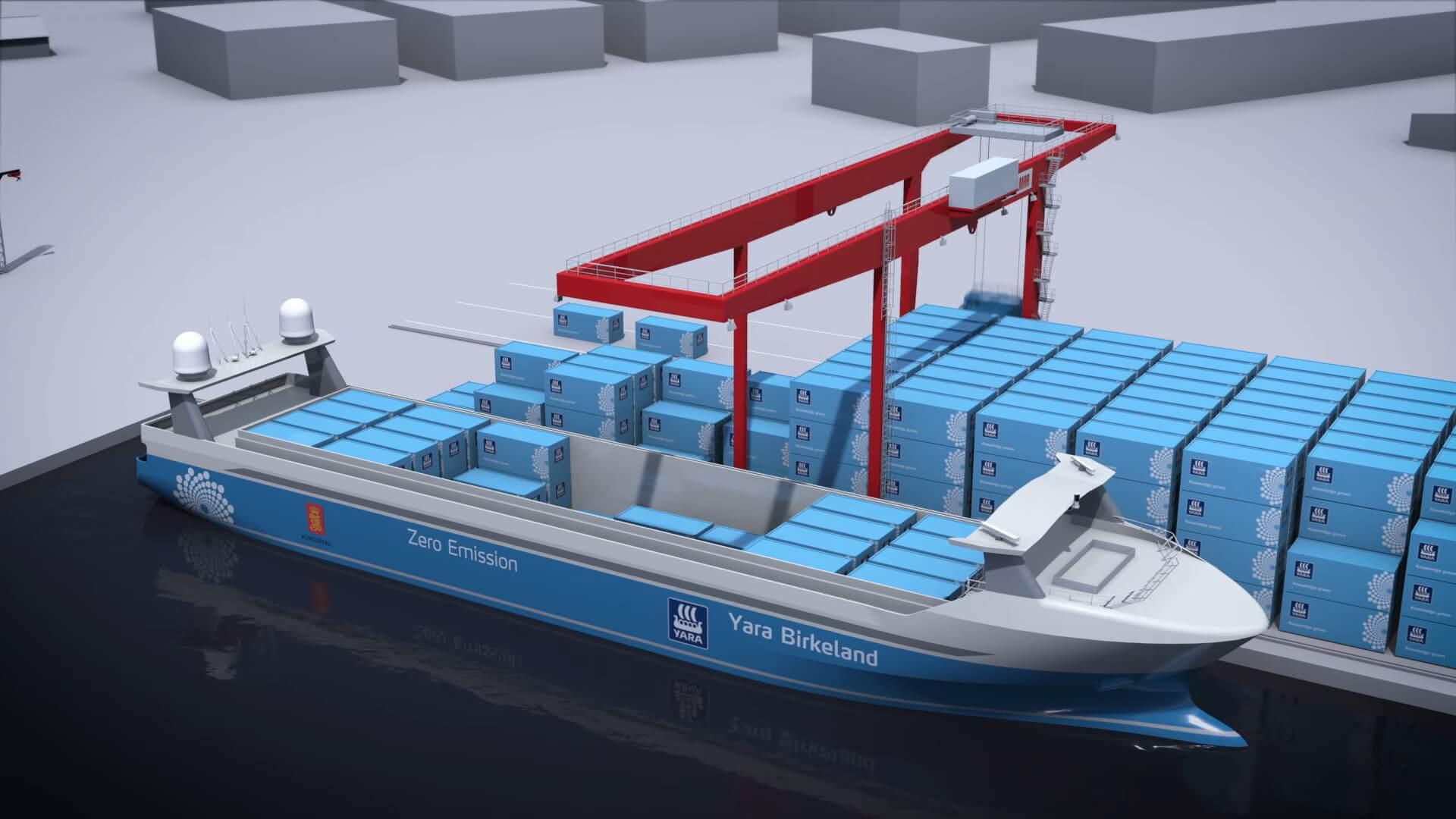 Электрическое полностью автономное контейнерное судно