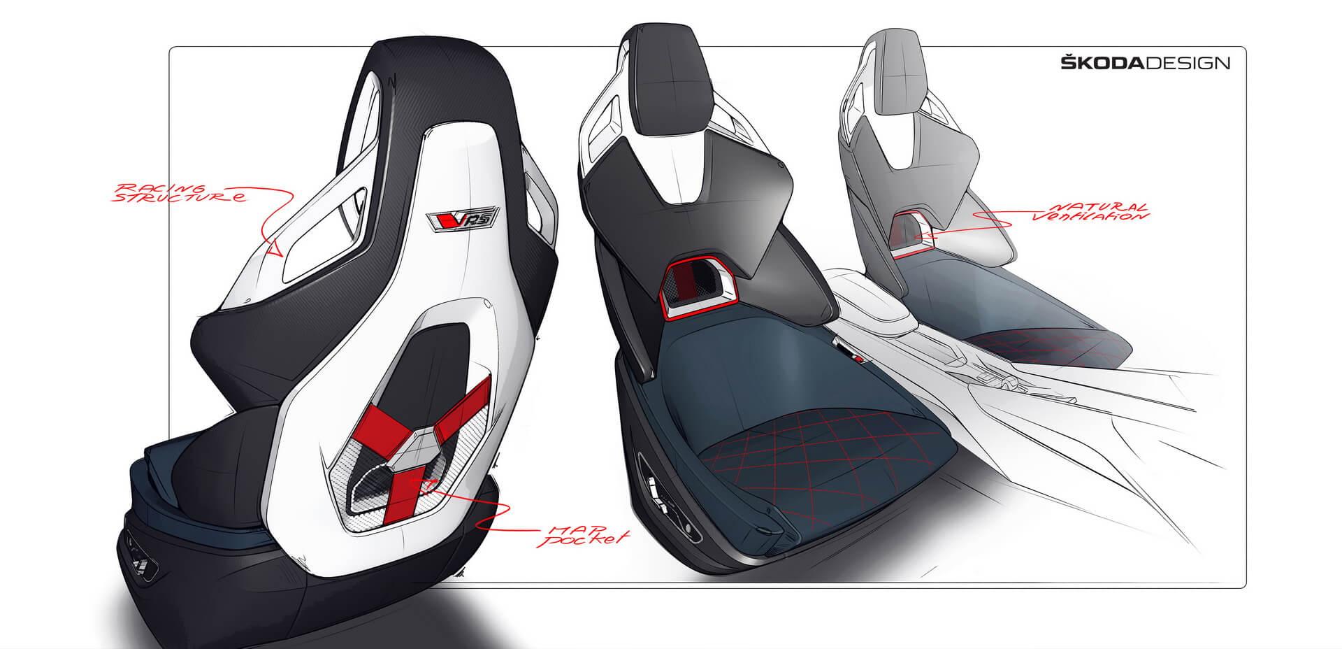 Сиденья плагин-гибрида Škoda Vision RS