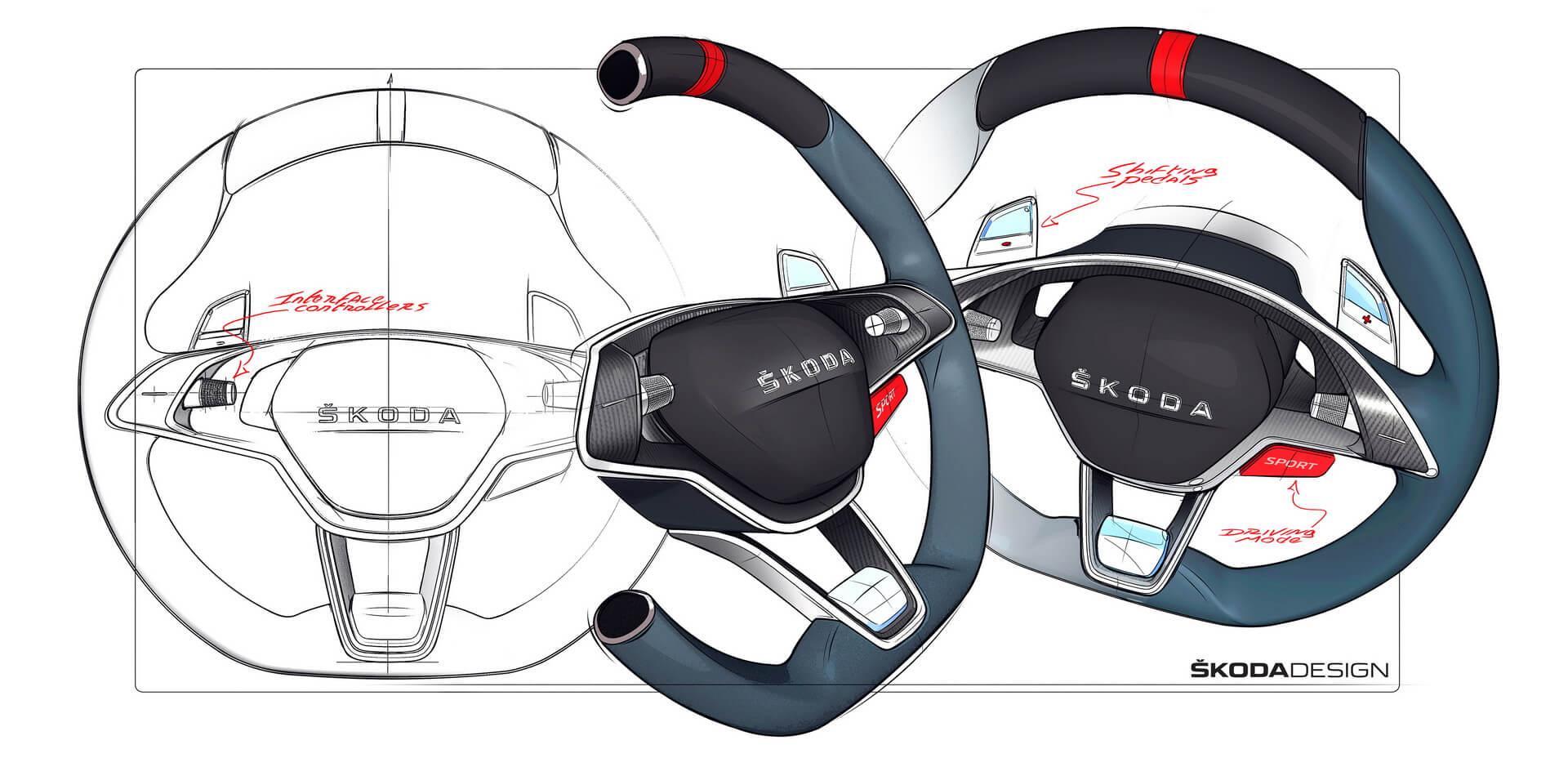 Рулевое колесо плагин-гибрида Škoda Vision RS