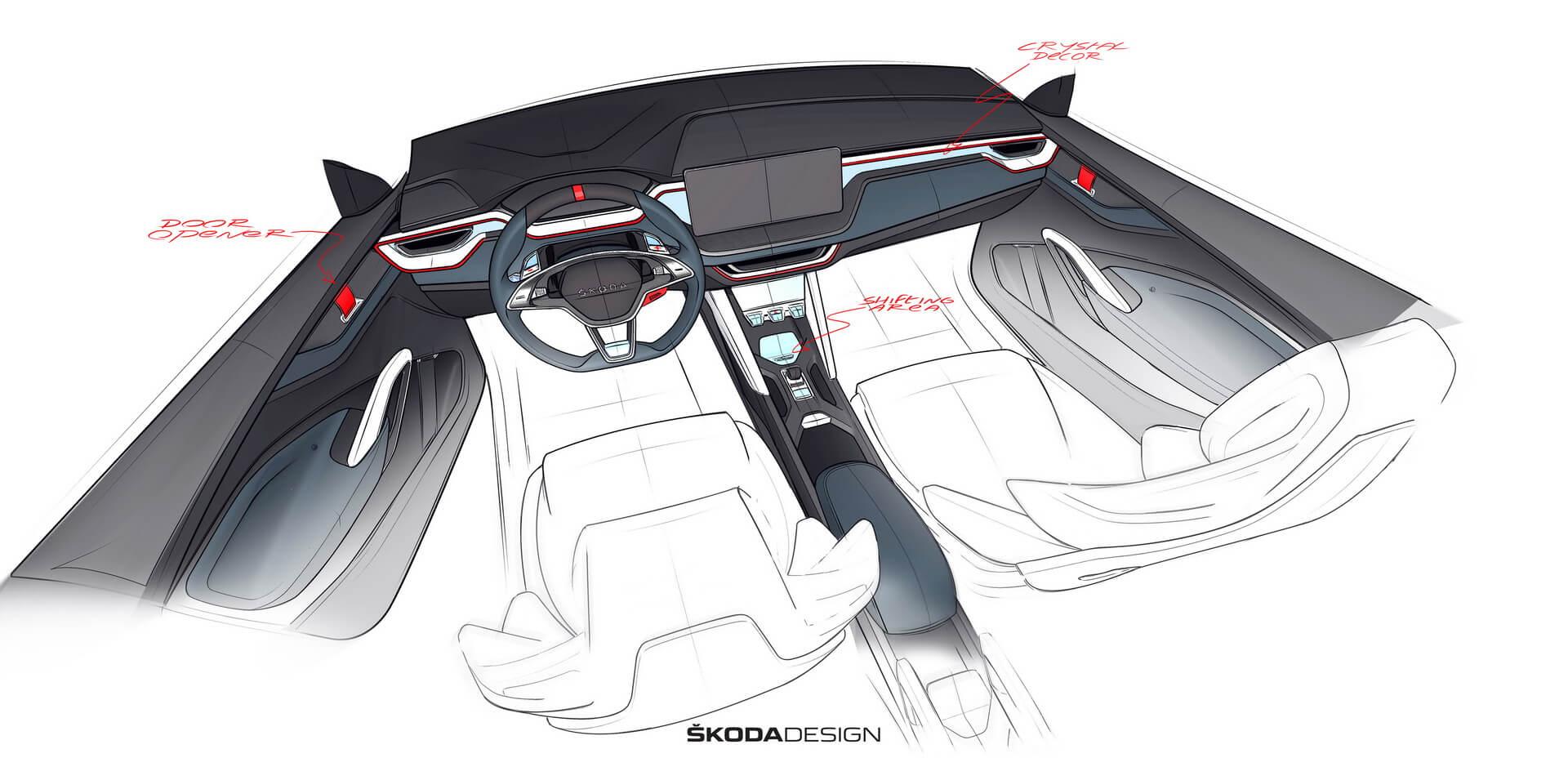 Дизайн интерьера плагин-гибрида Škoda Vision RS