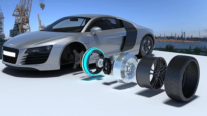 Audi R8 с электродвигателями внутри колес